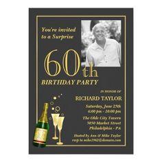 Shop Customized Birthday Party Invitations created by SquirrelHugger. 60th Birthday Party Invitations, Gold Birthday Party, Anniversary Invitations, Adult Birthday Party, Dad Birthday, 55th Birthday, Happy Birthday, 60th Anniversary Parties, Custom Invitations