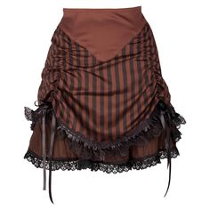 Give your look a sense of swashbuckling adventure with this delightful brown rouched skirt. Taking its cue from a blend of Victorian elegance, contemporary couture and good old fashioned romance, its lace detailing and satiny black ribbons give this skirt a delightful, feminine finish, while its contrasting light and dark stripes give it a more modern, up-to-date feel. An layer of chiffon gives this skirt added appeal, completing the classic, rouched look. Wear this as the accompaniment to…