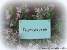 Tür- & Namensschilder - Mini- Schild > WUNSCHNAME < weiss/ hellblau - ein Designerstück von Liebesschild bei DaWanda
