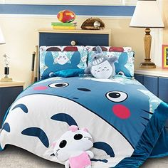 YOYOMALL New!My Neighbor Totoro Bedding Sets 4Pcs,Super Soft Coral Velvet Sets #KidsBedding