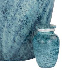 Aqua Harbor Cremation Keepsake Urn in Aluminum   Available at Stardust Memorials