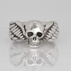 Flying Skull Ring made by Sparrow & Co Jewellery.