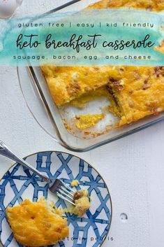 A keto breakfast casserole with bacon, sausage, egg, cheese, and a buttery keto friendly bread. It is perfect for meal prep with just 3.5 net carbs per serving! Serve this keto-friendly casserole for breakfast or brunch. Your entire family will enjoy this delicious breakfast casserole recipe! #keto #ketorecipe #lowcarb #breakfast #casseroles #breakfastcasserole #casserolerecipe #breakfastcasserolerecipes