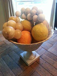Set of Ten (10) Antique Stone Fruit Pieces - Grapes, Lemons, Apple, Orange