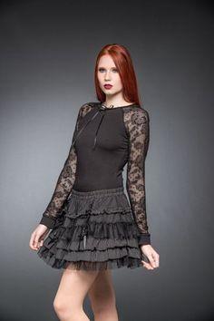 Layered Pinstripe And Lace Skirt