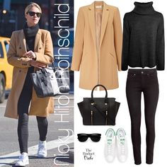 1b423161e425 Classic Cool  Nicky Hilton Rothschild s Camel Coat and White Sneakers Look  for Less