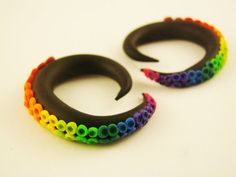 Rainbow Octopus Tentacle Gauges  6G to 0G size by HipsterOctopus, $25.00