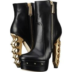 DSQUARED2 Ankle Boot with Sculpture Heel Women's Dress Boots, Black ($695) ❤ liked on Polyvore featuring shoes, boots, ankle booties, ankle boots, black, black bootie, platform boots, leather booties and black booties