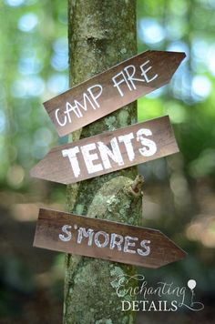 INSTANT DOWNLOAD Camping Printable Tree Signs- DIY/Customize Editable in Adobe Reader~ Good for campsite decoration.