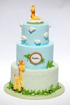 Giraffe Baby Shower Cake by Royal Bakery (tutorial available)