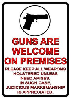 Tin Sign - Guns Are Welcome