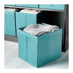 """IKEA - SKUBB, Box, light blue, , Easy to pull out as the box has a handle on the side.All three boxes fit side by side in a 39⅜"""" wide wardrobe frame.When the box is not in use and you want to save space, simply open the zipper in the bottom and fold it flat."""