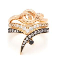 In perfect harmony, the Serpent band sits atop sweeping V-shaped Orbit and single Butterfly wrap bands, inlaid with an ombre of luminous diamonds in classic yel Fine Jewelry, Unique Jewelry, Bespoke Jewellery, Champagne Diamond, Black Diamond, Anna Sheffield, Jewelry Design, Jewels, Gemstones