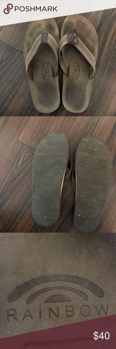 Rainbow leather flip flops. Worn a few times Awesome Rainbow flip flops like new Rainbow Shoes Sandals & Flip-Flops