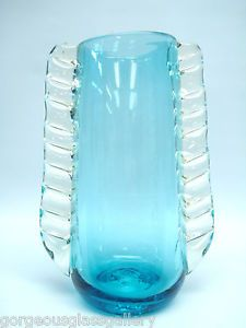 VINTAGE BLENKO ART GLASS HAND BLOWN AQUA BLUE VASE CARL ERICKSON DESIGN