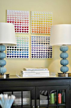 Rainbow paint chip wall art DIY idea