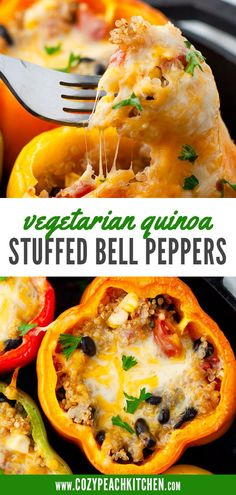 Quinoa stuffed bell peppers are a nutrient-packed & vegetarian-friendly recipe! Perfect for dinners and meal prep. Vegetarian Comfort Food, Easy Vegetarian Dinner, Vegan Vegetarian, Easy Bean Recipes, Lunch Recipes, Vegan Recipes, Vegan Stuffed Peppers, Peach Kitchen, Vegan Dishes