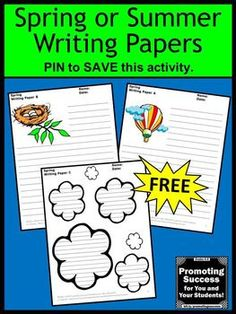 You will download FREE printable writing papers for your spring or summer themed classroom literacy centers. The student worksheets feature fun picture prompts for creative writing ideas, letter writing, note taking, summarizing or other research project activities. This freebie is appropriate for teaching 1st, 2nd, 3rd, 4th, 5th and 6th grade (elementary and middle school) kids, ESL and special education.
