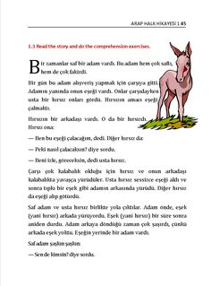 Turkish Books: Anatolian Folk Tales 1 for beginners – Anatolian Folk Tales 1 Easy Reading Books, Comprehension Exercises, Turkish Lessons, Learn Turkish Language, British Sign Language, College Life Hacks, English Vocabulary Words, Teaching English, Books To Read