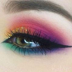 olorful Eye Makeup This season trend, dark tinted headlights, replaced with brightly colored
