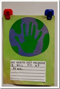 Earth Day Craft-  You could even use their foot print to make the other green spots around the hand