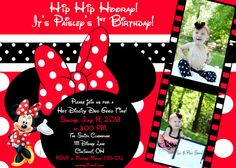 Custom Personalized Red Minnie Mouse Birthday Invitation by AmyBellsandWhistles, $13.00