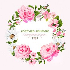 Romantic background with flowers- rose, peony, chamomile. Watercolor Projects, Wreath Watercolor, Watercolor Flowers, Vintage Diy, Vintage Roses, Flower Frame, Flower Art, Postcard Template, Vintage Lettering
