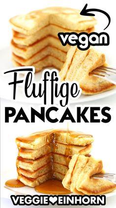 Vegane Frühstücksideen: Probier diese einfachen veganen Pancakes ohne Ei. Die Pfannkuchen sind super fluffig und lecker. Das Rezept ist mit Apfelmus als Eiersatz, ohne Banane. Es ist ein schnelles veganes Frühstück, das alle gerne essen. #VeggieEinhorn #vegan #pancakes #pfannkuchen Food To Go, Good Food, Food And Drink, Yummy Food, Homemade Pancakes, Vegan Pancakes, Vegan Vegetarian, Vegetarian Recipes, Vegan Sweets