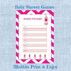 Printable Baby Shower Game Guess the Baby Food is great idea to activate your guests at your shower. #guessbabyfoodgame #printablebabyshowergame #2rabbitsprintenjoy #etsyshop