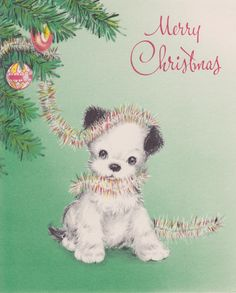 vintage Christmas puppy dog with tinsel from tree Christmas Card Images, Vintage Christmas Images, Christmas Graphics, Holiday Pictures, Retro Christmas, Vintage Holiday, Christmas Greeting Cards, Christmas Greetings, Vintage Images