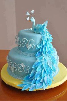 blue peacock cake by felinelady Gorgeous Cakes, Pretty Cakes, Cute Cakes, Amazing Cakes, Peacock Cake, Peacock Wedding Cake, Peacock Theme, Peacock Colors, Wedding Cakes