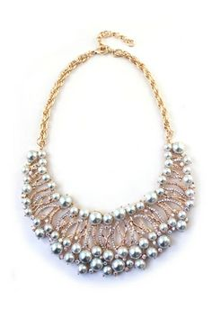 REGISTER ON PERSUNMALL.COM  Sector Artificial Pearl Rhinestone Golden Necklace