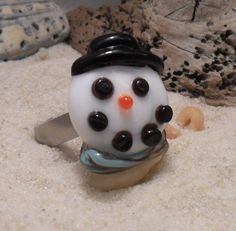 Lampwork Snowman Ring Topper Artisan by fragiacomoglassart on Etsy, $25.00