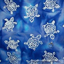 BonEful FABRIC FQ Cotton Quilt Blue Aqua Batik L TURTLE White Water Beach Ocean