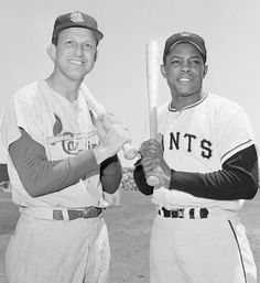 Willie Mays, San Francisco Giants, and Stan Musial, St. Louis Cardinals, 1958 All-Star Game