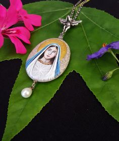 Virgin Mary 925 Silver Chain with Pearl Necklace N-0031-silver-pearl