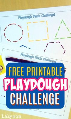 This free Playdoh printable challenge is the perfect activity for kids. They love it and moms do too. This activity is great for quiet time, and helps fine motor development and pinch strength. Have fun indoor play with this free printable. Fine Motor Activities For Kids, Printable Activities For Kids, Educational Activities, Toddler Activities, Learning Activities, Free Printables, Preschool Lessons, Kindergarten Worksheets, Preschool Ideas