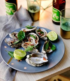 Australian Gourmet Traveller recipe for barbecued oysters with bacon-chilli-tamarind sauce.