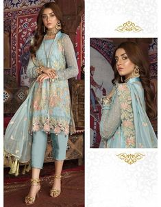 Ice blue pant kameez with dupatta. Work - Heavy embroidery work on kameez, bottom and dupatta. Kameez length is approximately inches. Matching bottom and dupatta comes with Pakistani Fashion Casual, Pakistani Suits, Pakistani Dresses, Indian Fashion, Salwar Suits, Pakistan Street Style, Blue Pants, Fashion Lookbook, Indian Outfits