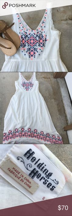 "Holding Horses Maxi Dress -Size: 6 -Color: White -Details: side zip, hi-low style -Condition: excellent (worn once) -Very flattering cut and perfect for summer. -Flat lay approx measurements: length: 44"" front/52.5"" back, bust: 17"", waist: 14.5"" No hold or trade requests please 🚫 Anthropologie Dresses High Low"
