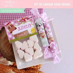 Granja Rosa tonos pasteles Party Decoration, Wedding Decorations, Farm Birthday, Ideas Para Fiestas, Candy Gifts, Farm Animals, Gift Baskets, Birthdays, Gift Wrapping