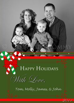 Printable Candy Cane Christmas Holiday Card by ThePhotoMommy, $10.00