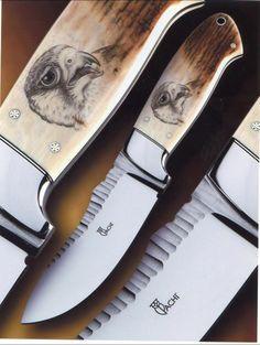 impugnatura avorio fossile di mammouth - Scrimshaw anteriore e posteriore di Mirella Pachì-falco pellegrino e lupo - fodero in cuoio Opera del maestro coltellinaio: Francesco Pachì
