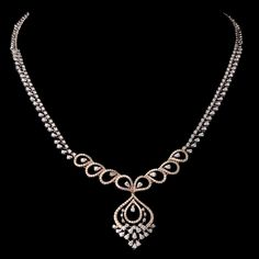 One necklace 18 kt. set with 437 diamonds cts. Gold Wedding Jewelry, Gold Jewelry Simple, Real Diamond Necklace, Small Necklace, Antique Necklace, Gold Jewellery Design, Womens Jewelry Rings, Evening Dresses, Diamond Guide