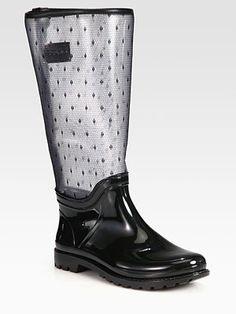 RED Valentino Point d'Esprit Rain Boots