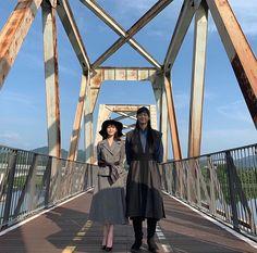 Image may contain: sky, shoes, bridge and outdoor Celebrity Couple Costumes, Celebrity Couples, Korean Celebrities, Korean Actors, Lee Hyun, Korean Drama Movies, Korean Dramas, Kdrama Actors, Drama Series