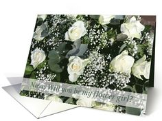 Niece, Will you be my flower girl - White rose bouquet card