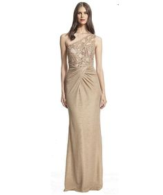 David Meister One Shoulder Beaded Metallic Evening Gown