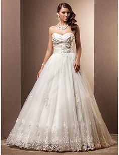 A-line/Princess de trem Sweetheart Tribunal Tulle Vestido de Noiva - BRL R$ 837,82