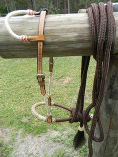 Bitless Show Hackamore Rawhide Bosal Brown Nylon Mecate NICE Set New Horse Tack